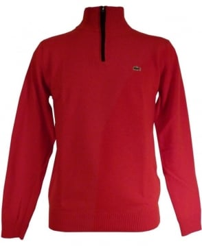 Lacoste Red Half Zip Knitwear