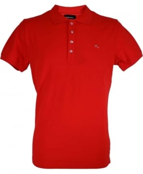Diesel Red 'Heal' Logo Polo Shirt