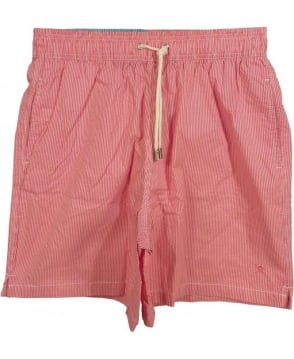Hackett Red HM800499 Seahorse Volley Stripe Swim Shorts