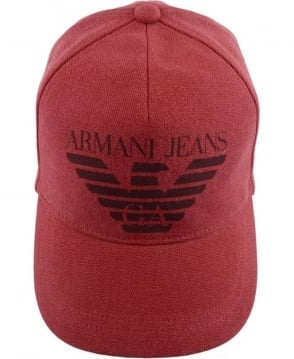 Armani Jeans Red Logo Print Cap