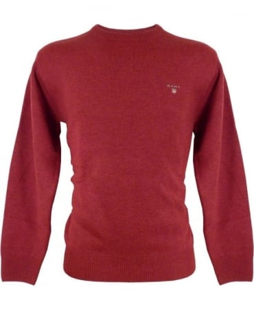 Gant Red Solid Lambswool Crew Neck Knitwear