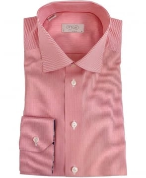 Eton Shirts Red Stripe Contemporary Fit Shirt