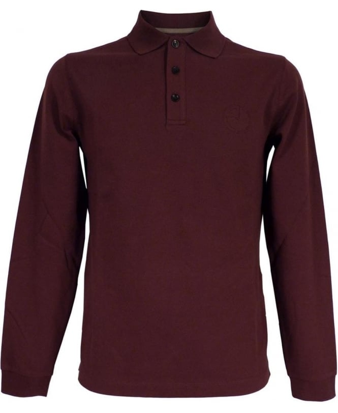Armani Collezioni Red Wine Long Sleeved Polo