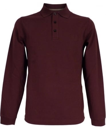 Armani Red Wine Long Sleeved Polo