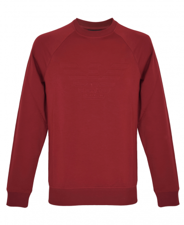Red Wine Stretch Crew Neck Sweatshirt With Logo