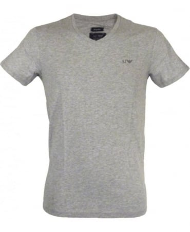 Armani Regular-fit V-neck T-shirt In Marl Grey