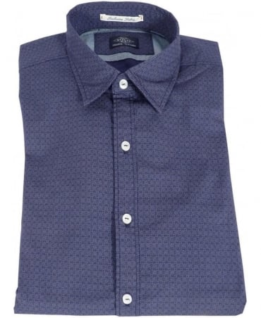Replay Blue Poplin Micro Corrosion Print Shirt