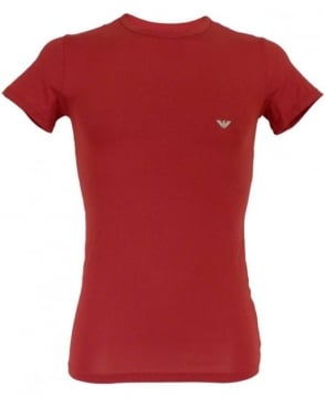 Armani Ruby Red Stretch Cotton Crew Neck T-shirt
