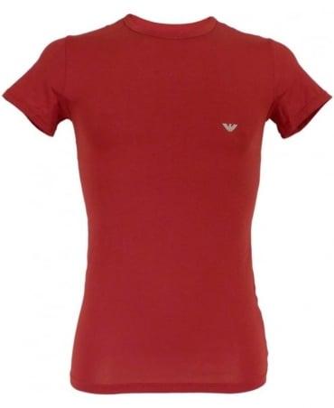 Emporio Armani  Ruby Red Stretch Cotton Crew Neck T-shirt