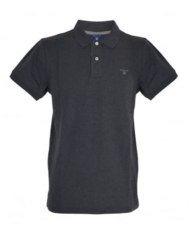 Gant Rugger Dark Anthracite Melange Contrast Collar Pique Polo