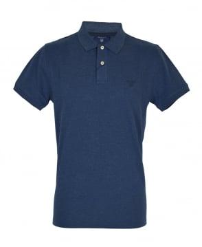 Gant Rugger Marine Blue Melange Contrast Collar Pique Polo