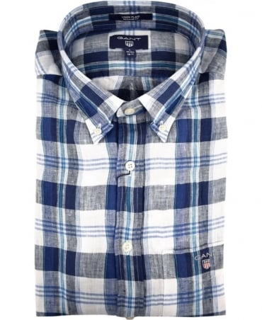Gant Sharp Blue Linen Plaid Shirt