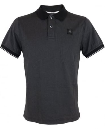 CP Company Short Sleeved Tacting Polo Shirt In Black
