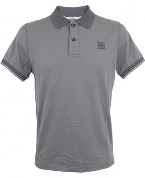 CP Company Short Sleeved Tacting Polo Shirt In Grey