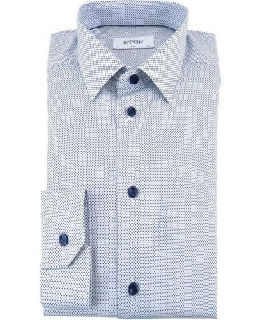 Eton Shirts Signature Twill Slim Fit Shirt With Blue Polka Dot