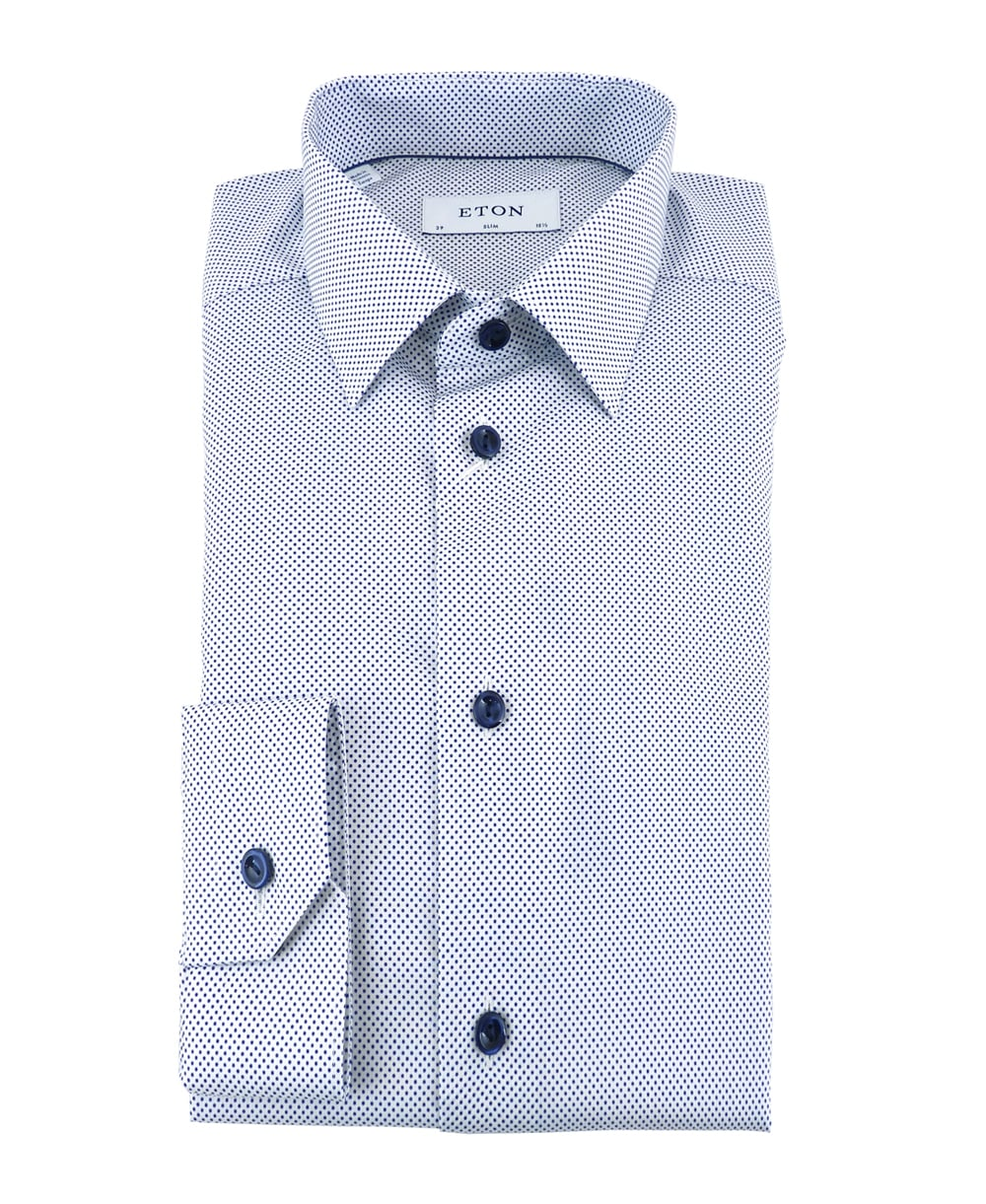Signature twill slim fit shirt with blue polka dot for Slim fit polka dot shirt