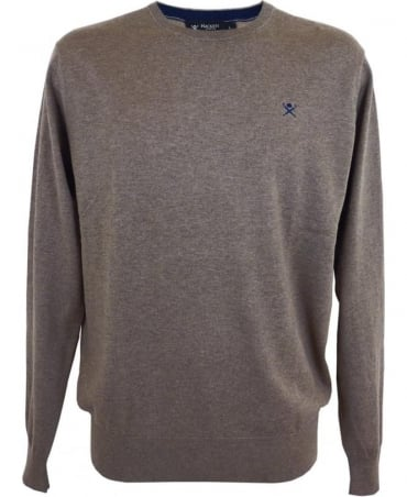 Hackett Silk, Cotton And Cashmere Mix Jumper In Taupe