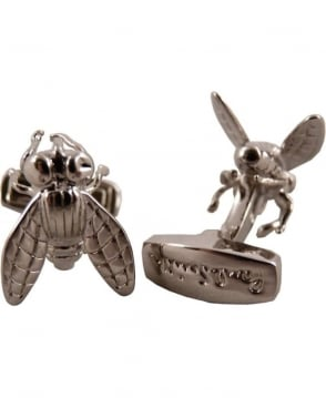 Paul Smith - Accessories Silver Finish ANXA/CUFF/FLY Fly Design Cufflinks