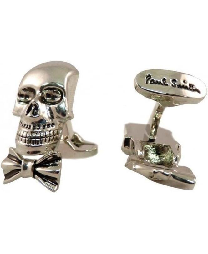 Paul Smith Silver Tone Skull & Bow Tie 2y Cufflinks AKXX/CUFF/SKULL