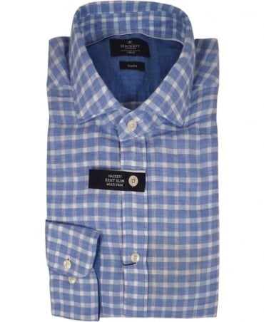 Hackett Slim Fit Gingham Check Linen Shirt In Sky Blue