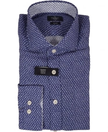 Hackett Slim Fit Star Print Linen Shirt In Blue