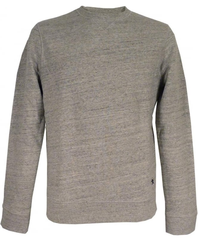 Hackett Slub Crew Sweatshirt In Grey Marl