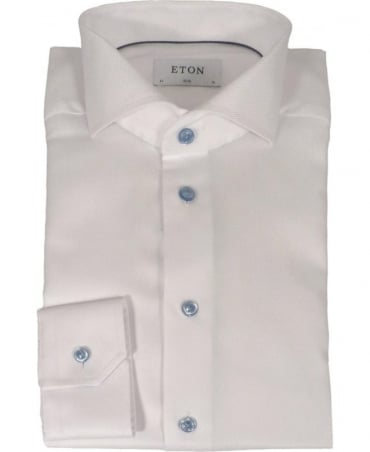 Eton Shirts Solid White Twill Shirt