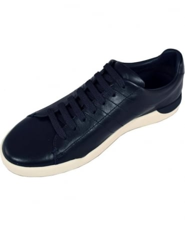 Hugo Boss 'Stillness_Tenn_Itpl' Smooth Leather Trainers In Dark Blue