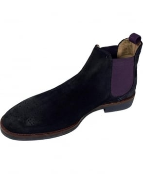 Oliver Sweeney Suede 'Burrows' Chelsea Boots In Navy