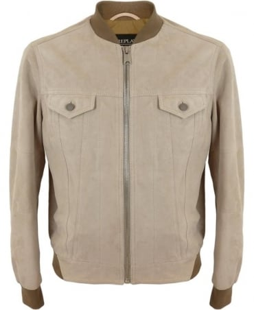 Replay Suede Leather Jacket In Dove Grey
