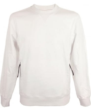 CP Company Sweatshirt With Kangaroo Pocket In White