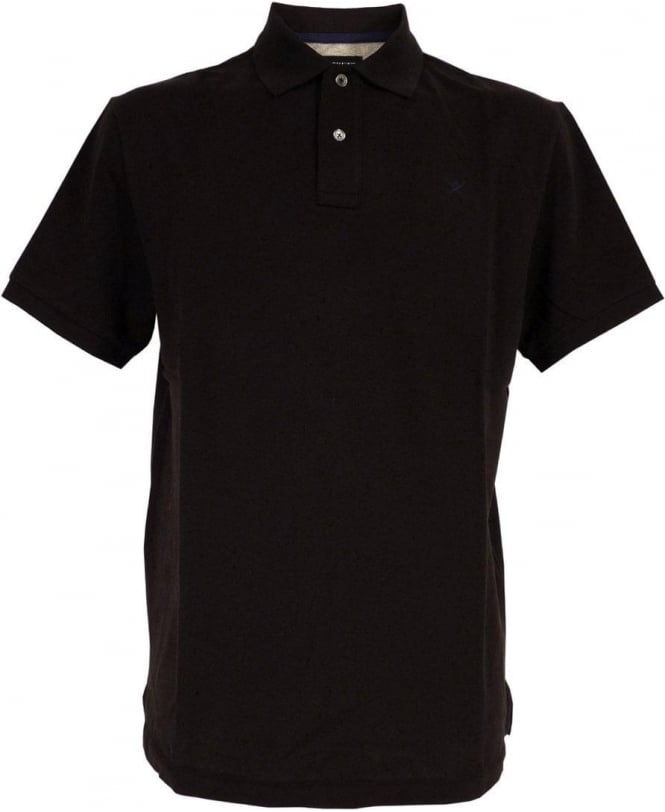 Hackett Tailored Logo Polo Shirt In Black