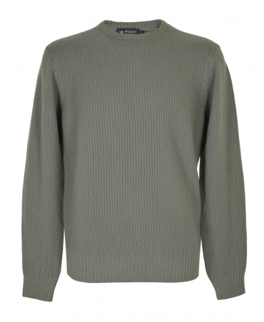Taupe HM701878 Rice Stitch Crew Neck Jumper
