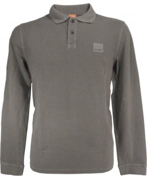 Hugo Boss Taupe Long Sleeve 'Phlash' Polo Shirt