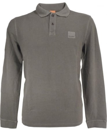 Hugo Boss Taupe Long Sleeve 'Phlash' Polo Shirt