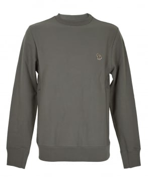 PS By Paul Smith Taupe Zebra Embroidered Chest Logo Sweatshirt
