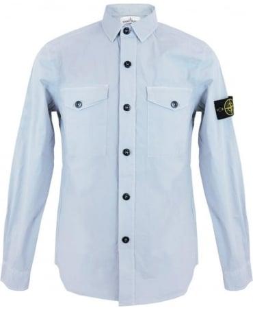 Stone Island Tela Paracadute Stretch Shirt In Light Blue