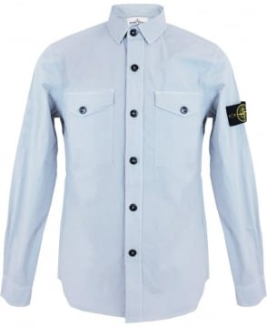 Stone Island Tela Parachute Stretch Shirt In Light Blue