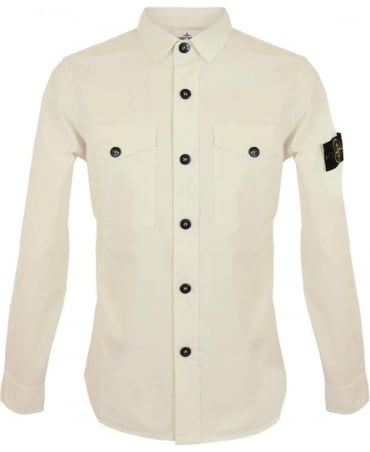Stone Island Tela Parachute Stretch Shirt In Off White