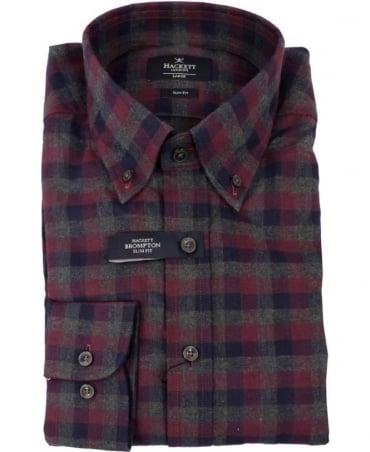 Hackett Texture Melange Brompton Shirt In Red/Grey