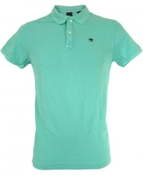 Scotch & Soda Turquoise Dyed Logo Polo Shirt