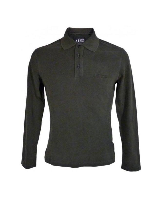 Armani Washed Black Longsleeve Polo