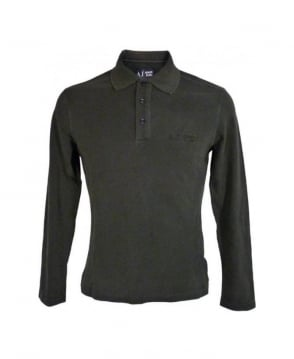Armani Jeans Washed Black Longsleeve Polo