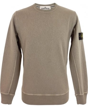 Stone Island Washed Crew Sweatshirt In Khaki