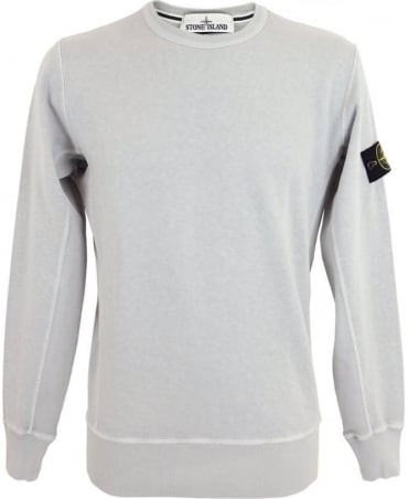 Stone Island Washed Crew Sweatshirt In Light Blue