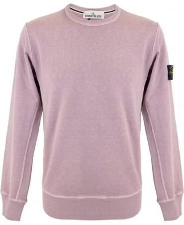 Stone Island Washed Crew Sweatshirt In Pink