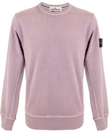 Stone Island Washed Crew Sweatshirt In Pink