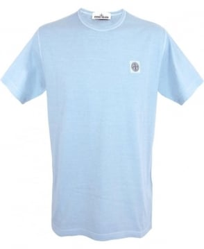 Stone Island Washed Out Small Patch Logo T-shirt In Light Blue