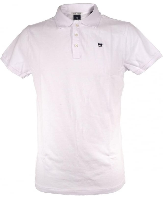 0898d294e Scotch & Soda White 1501-01.55051 Chest Logo Polo - Polos from ...