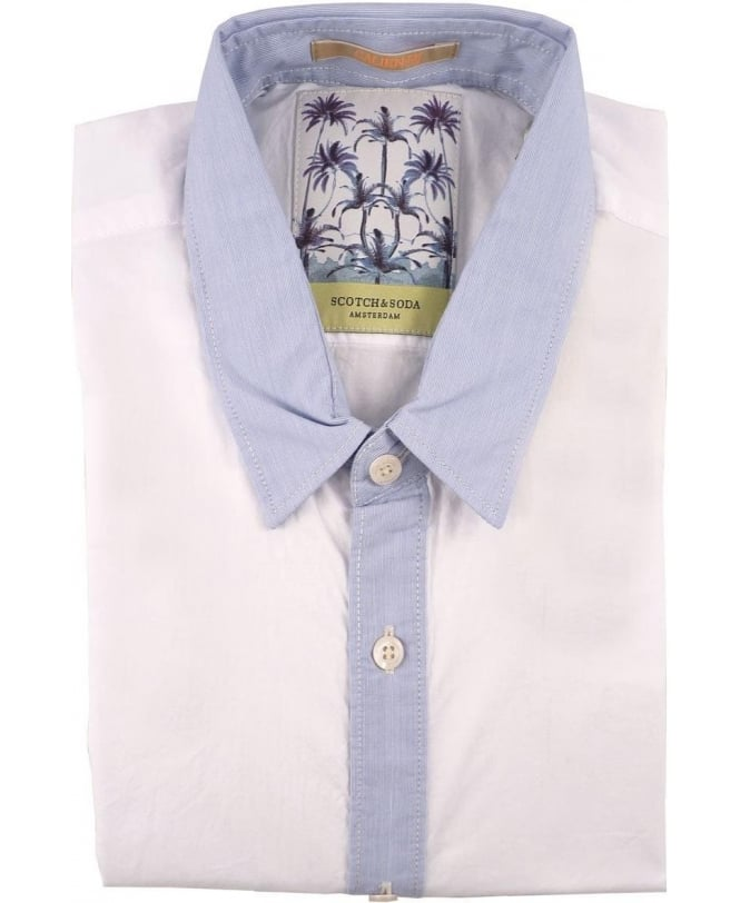 Scotch & Soda White 1501-02.20064 Contrast Collar Shirt